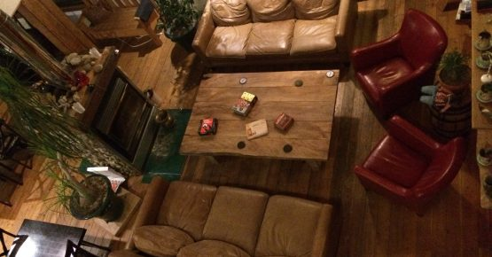 The Viking Coffee Table in the lounge of the Rams Head Inn at Red Mountain