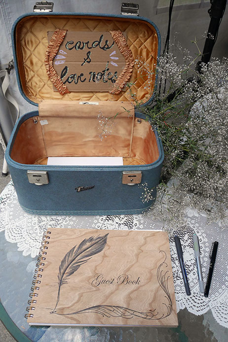 Guest book for an outdoor wedding at the Rams Head Inn at Red Mountain
