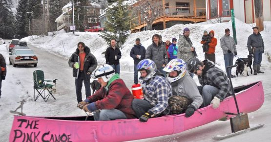 The Pink Canoe entry in the Rossland Winter Carnival bobsled race